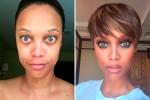 Телеведущая Тайра Бэнкс до и после макияжа