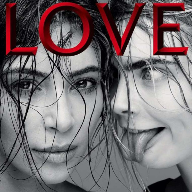 Ким Кардашян и Кара Делевинь на обложке журнала LOVE