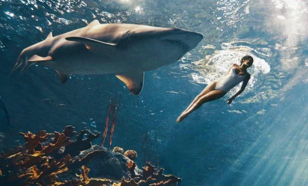 Рианна плавает с акулой для фотосессии журнала Harper's Bazaar
