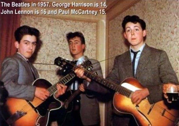 Группа The Beatles в 1957 году: Джону Леннону - 16 лет, Джорджу Харрисону -14, Полу Маккартни - 15 лет