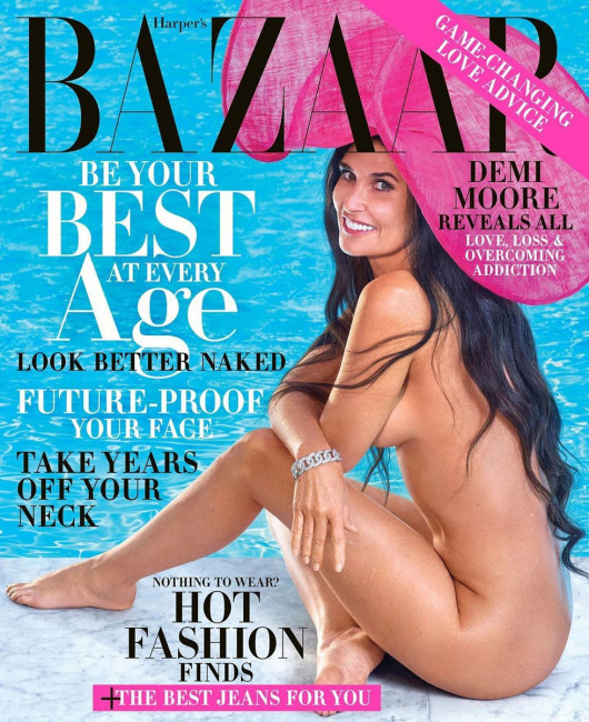 56-летняя Дэми Мур снялась полностью голой для журнала