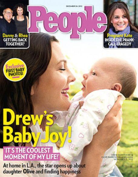 Дрю Бэрримор впервые показала свою новорождённую дочь