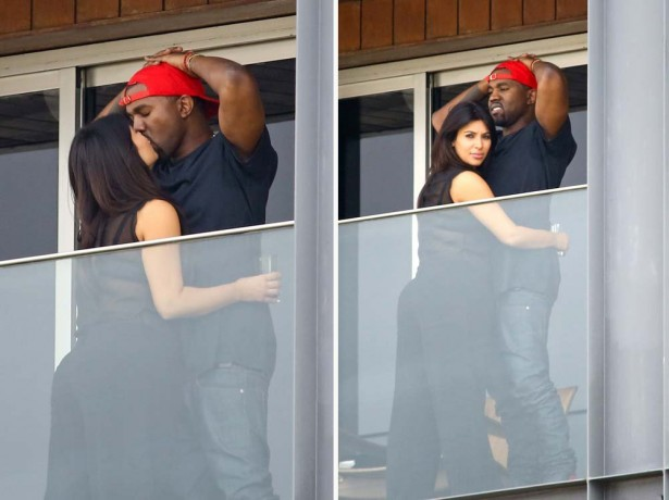 Канью Вест и Ким Кардашян целуются на балконе