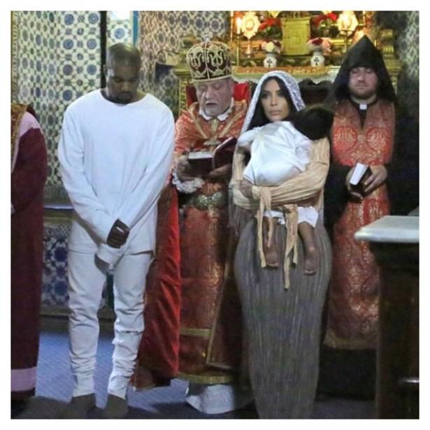 Как Ким Кардашьян и Канье Уэст крестили дочь в Иерусалиме