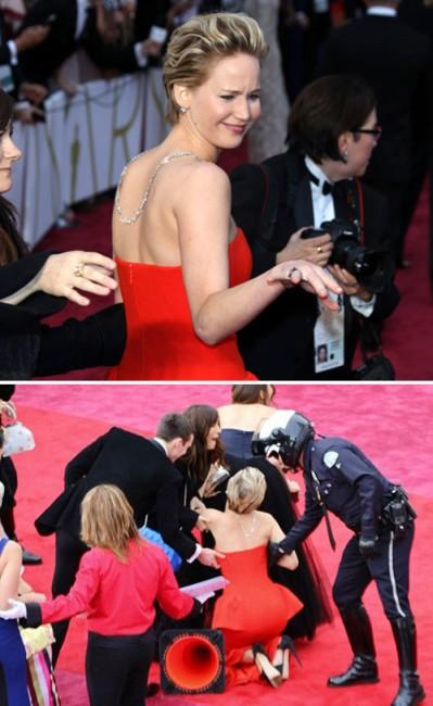 Дженнифер Лоуренс вновь упала на церемонии вручения премий «Оскар»