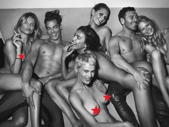 Ирина Шейк (в центре) в скандальной фотосессии для журнала о моде DSECTION