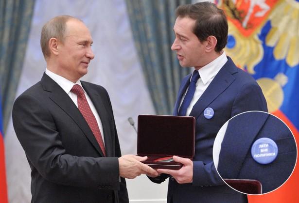 Хабенский пришёл к Путину со значком «Дети вне политики»